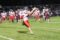 BECKY MALKOW The Independent-Register Gage Boegli hauls in a touchdown pass for the first score of the game against Prairie du Chien on Friday night. The Cardinals didn't score again until the fourth quarter winning a nail-biter 22-19 to remain undefeated on the season.