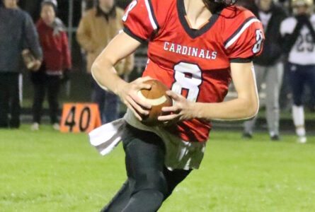 BECKY MALKOW Brodhead Independent Register Brodhead-Juda quarterback Cole Hoesly gains big yardage on a keeper play in Friday's 42-13 win over Watertown Luther Prep in the first round of the WIAA playoffs. The Cards will host Richland Center this Fri-day at 7 p.m.
